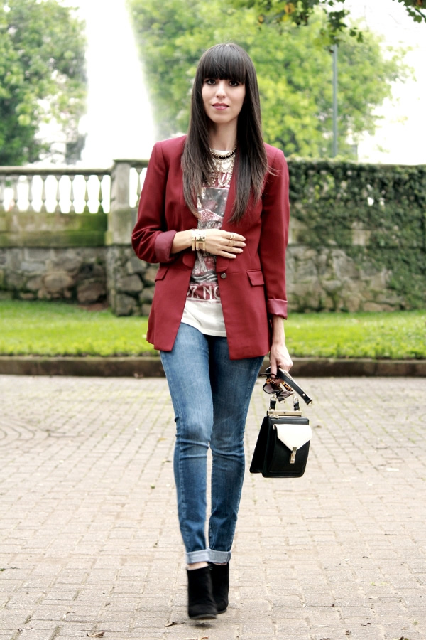 Blazer Vino y *Camiseta Impresa* - Blog de Moda Costa Rica - Fashion Blog