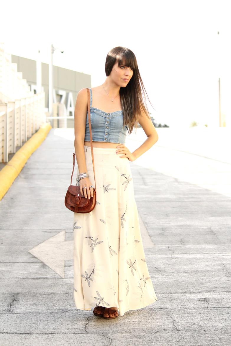 *Crop Top De Mezclilla* Y Maxifalda Estampada - Blog De Moda Costa Rica - Fashion Blog