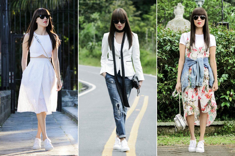 Cómo combinar unas tenis blancas: opciones con jeans, falda y vestido