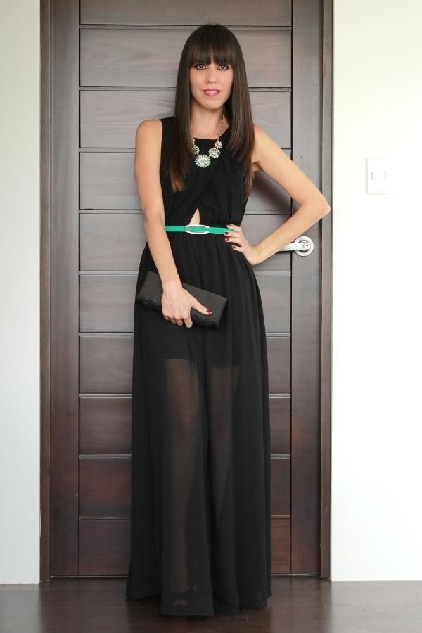 Como combinar vestido negro largo boda