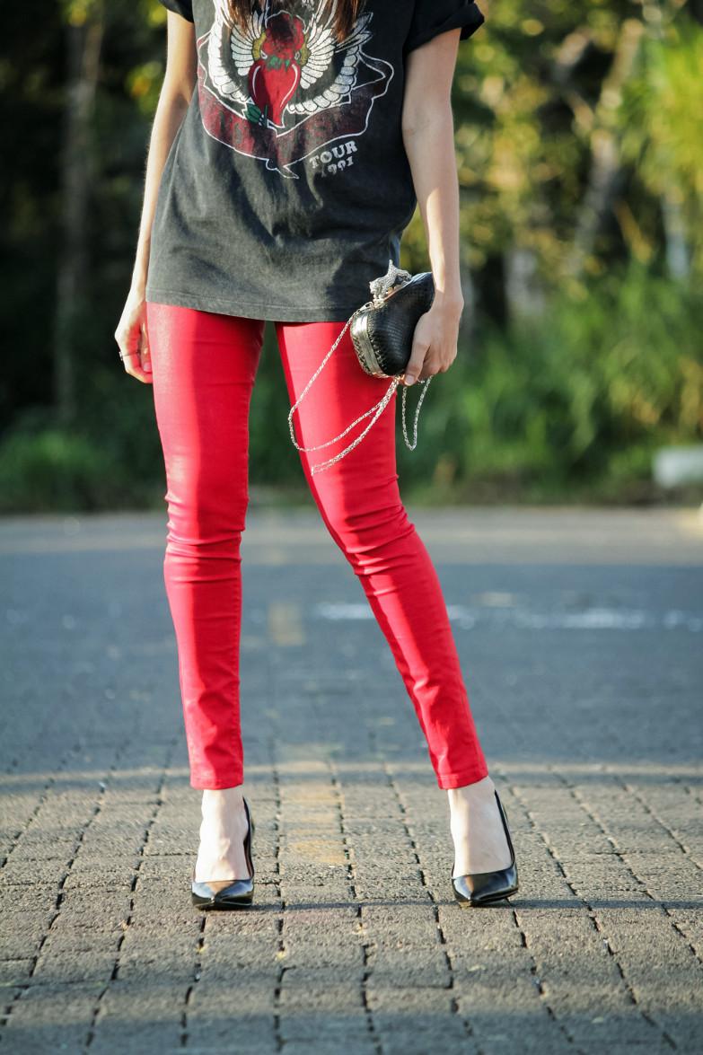 Camiseta De Tendencias Rockera La Dos Y Temporada Pantalones Rojos SwYxpAE